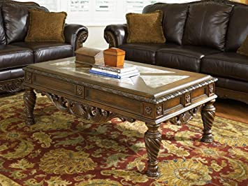 Old World Style Rectangle Brown Coffee Table