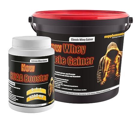 New BCAA Booster 454g Multifrucht+New Whey Muscle Gainer 3kg Erdbeere! Whey Gainer Wheyprotein Molkenprotein BCAA Amino Aminsäuren Muskelaufbau Anabol Anabolika