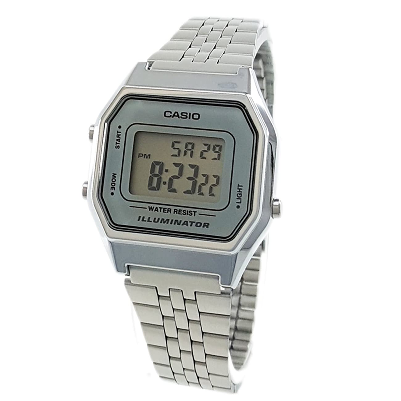 Casio Ladies Mid-Size Silver Tone Digital Retro Watch LA-680WA-7DF 0