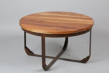 Table ronde en acier et bois - Dim : H 500 x D 780 mm -PEGANE-