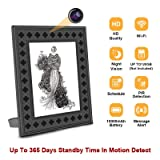 WiFi Hidden Spy Camera Photo Frame with Night Vision,Motion Detection,365 Days Standby Time, Indoor Covert Nanny Camera Security Camera,Remote Live View Support iOS/Android (Color: black)