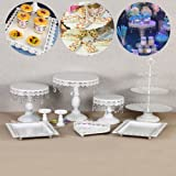 9 Set Metal Crystal Cake Holder Cupcake Stand Cake Dessert Holder with Pendants and Beads,Wedding Birthday Dessert Cupcake Pedestal Display,White (9) (Color: White)