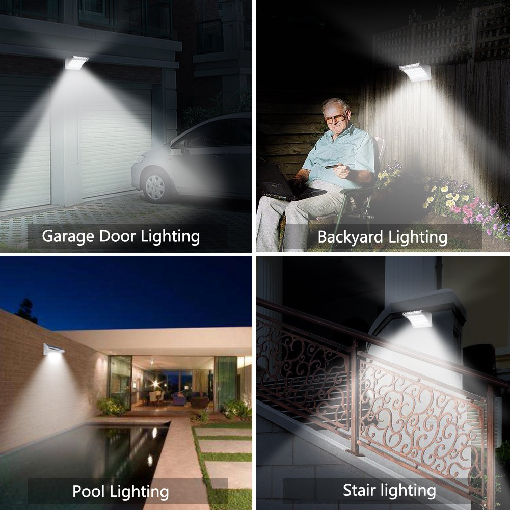 Solar Lights Outdoor Motion Sensor Super Bright White Lighting with Wireless Radar Activated Aluminum Alloy 24 LED Waterproof Wall Light for Garden Patio Landscape Fence Yard Path Garage (1-Pack)