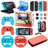 Accessories Bundle For Nintendo Switch NS Essential gaming Kit with Switch Carry Case, 4-Channel Charging Dock, Joy con Grip,Compact PlayStand,Game Card Case  Covers Wheels Caps (19 in 1)