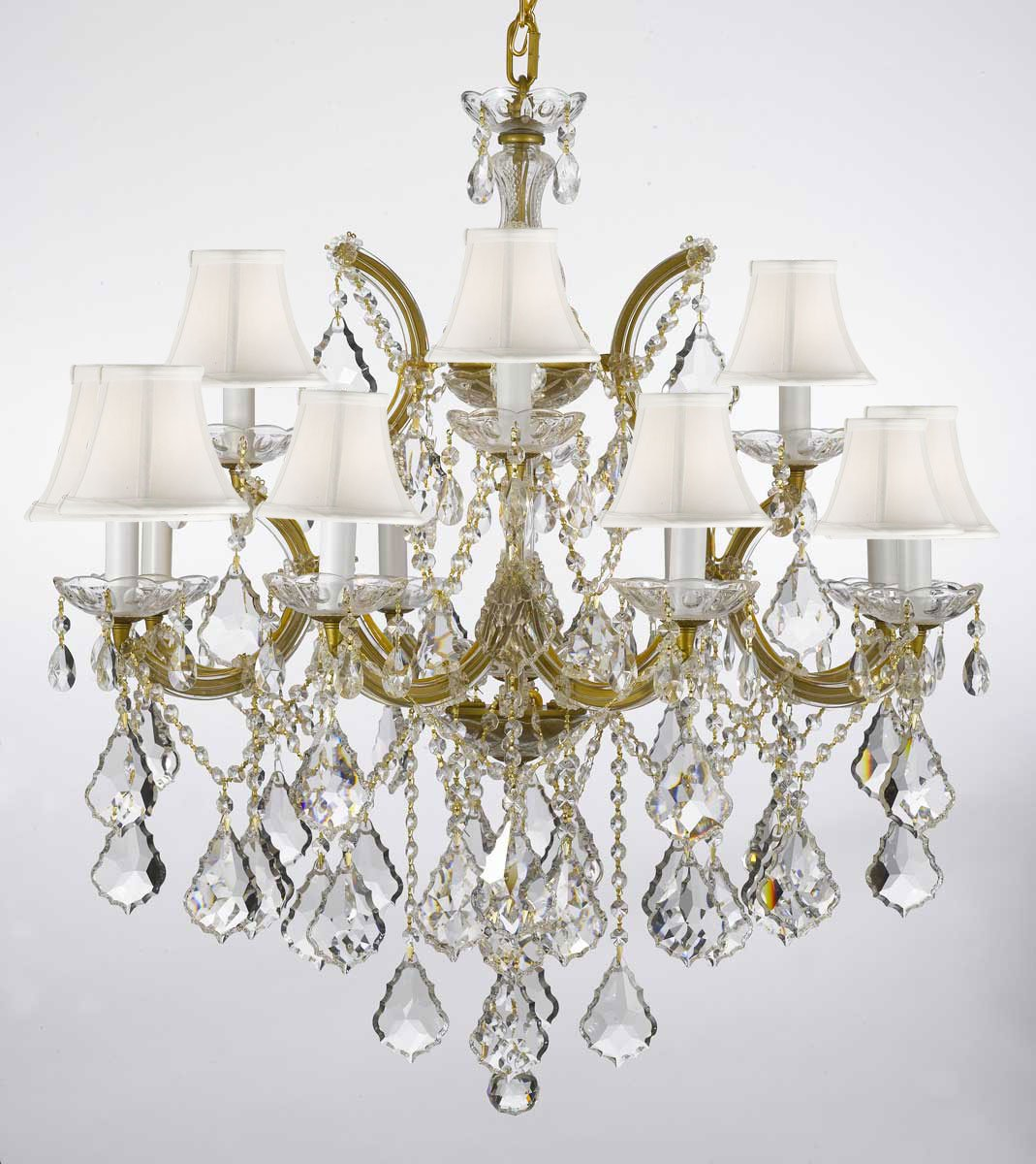 Chandelier Lighting Crystal Chandeliers With White Shades