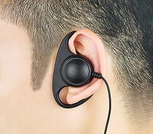 KEYBLU D Shape Earpiece Headset with Big PTT for 2 Pin Walkie Talkie Radio (Kenwood)