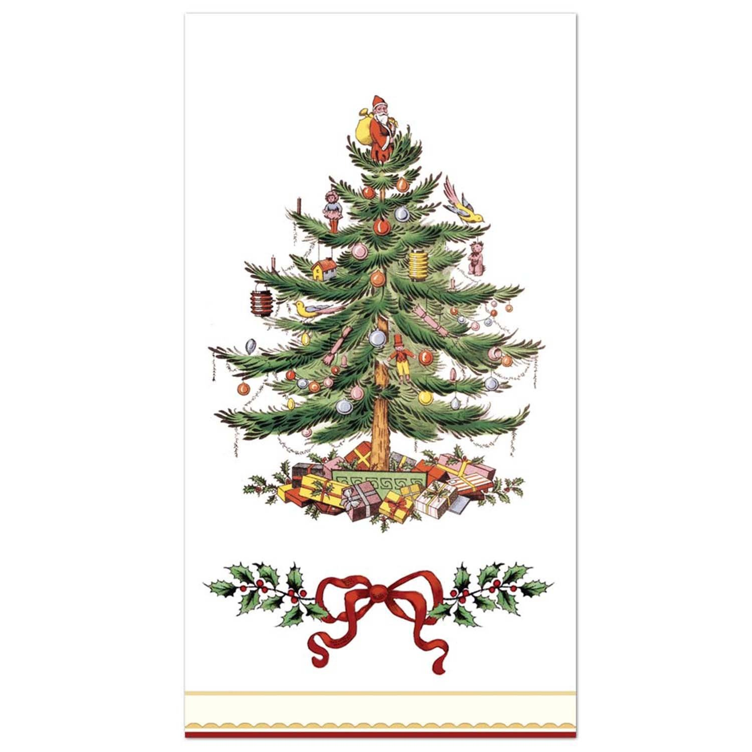 C.R. Gibson 16 Count Guest Towel/Dinner Napkin, Christmas Holly and Ribbon
