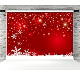 7x5ft Winter Red Background for Photography Snowflake Bokeh Vinyl Photo Backdrop Studio Props Christmas Party Decorations (Color: 2486, Tamaño: 7x5ft)