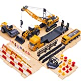 iPlay, iLearn Engineering Construction Site Play Set, Bulldozer, Steamroller, Forklift, Crane, Dump Truck, Plow, Trailer, Equipment Vehicles, Signs & Cones, Toy Gift for Boys, Girls, Kids & Children (Color: Orange, Tamaño: Medium)