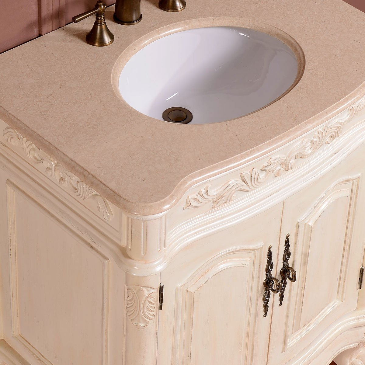 Silkroad Exclusive Marble Stone Top Single Sink Bathroom Vanity with White Oak Finish Cabinet, 32-Inch 4