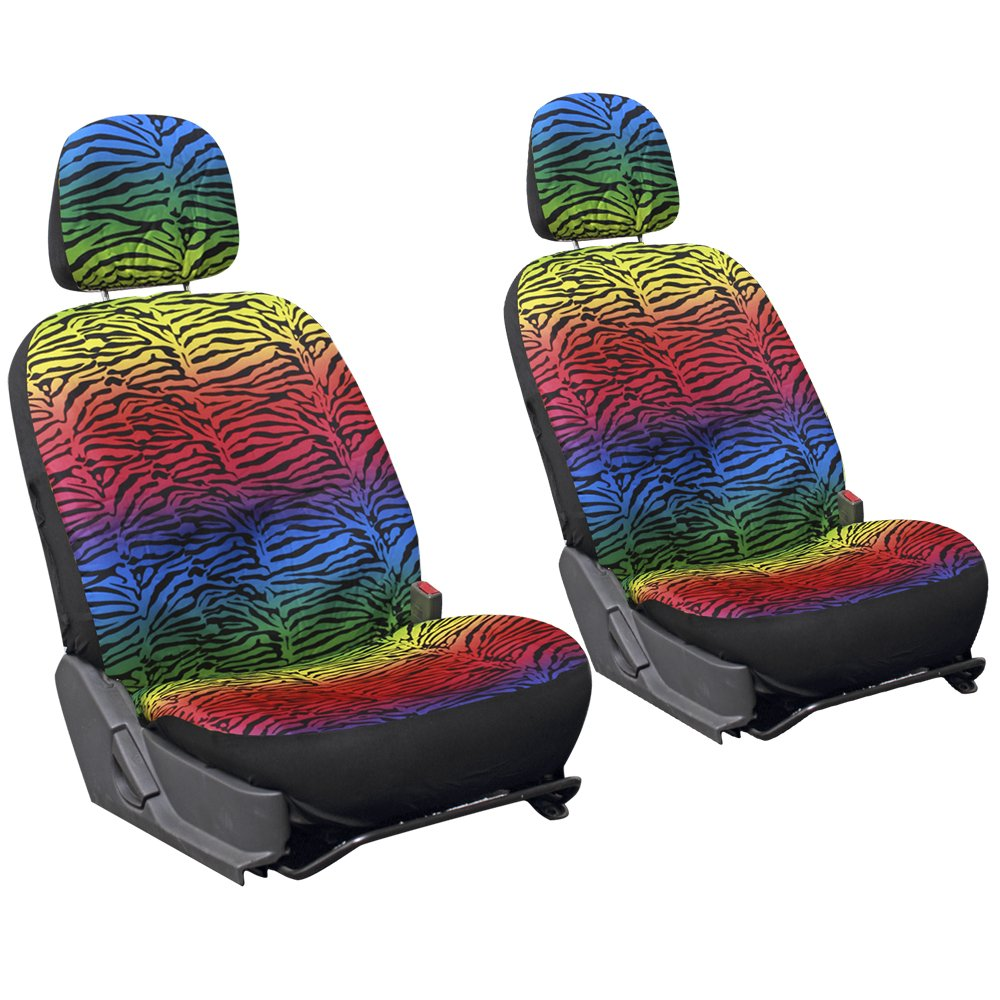 Oxgord Zebra/Tiger Velour Bucket Seat Cover Set for Car/Truck/Van/SUV