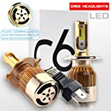 RCJ H4 9003 HB2 LED Headlight Bulbs 9600LM 120W High Low Dual Beam Conversion Bulbs Kit 6000K Cool White COB Chips Super Bright Car Light Replacement Plug & Play - 3 Year Warranty(Pack of 2)