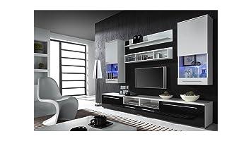 BMF LUNA Moderner Hochglanz / TV-Schrank / TV Schrank Boden aufhängen, ideal fur Wohnzimmer, Schlafzimmer, Studio, flach, hochwertig, geeignet fur PLASMA- / LED- / LCD- / OLED TV!!!!!!!!!!!!-LUNA weiß / schwarz