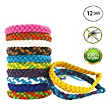 Maxtry 12 Pack Mosquito Bracelet Insect Repellent Adjustable Waterproof Natural Bug Repellent Band (Color: 12 pack, Tamaño: one size)