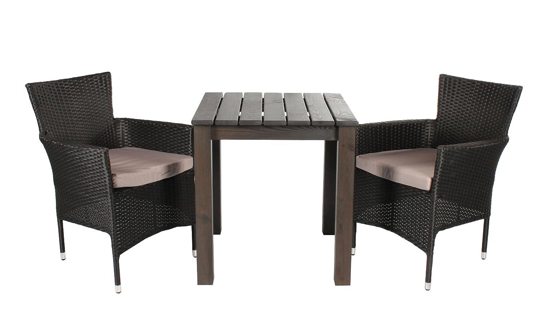 3tlg. Balkonset Sitzgruppe Esstisch 67 x 67 cm eckig Polyrattan Sessel stapelbar schwarz nicht zerlegt jetzt bestellen