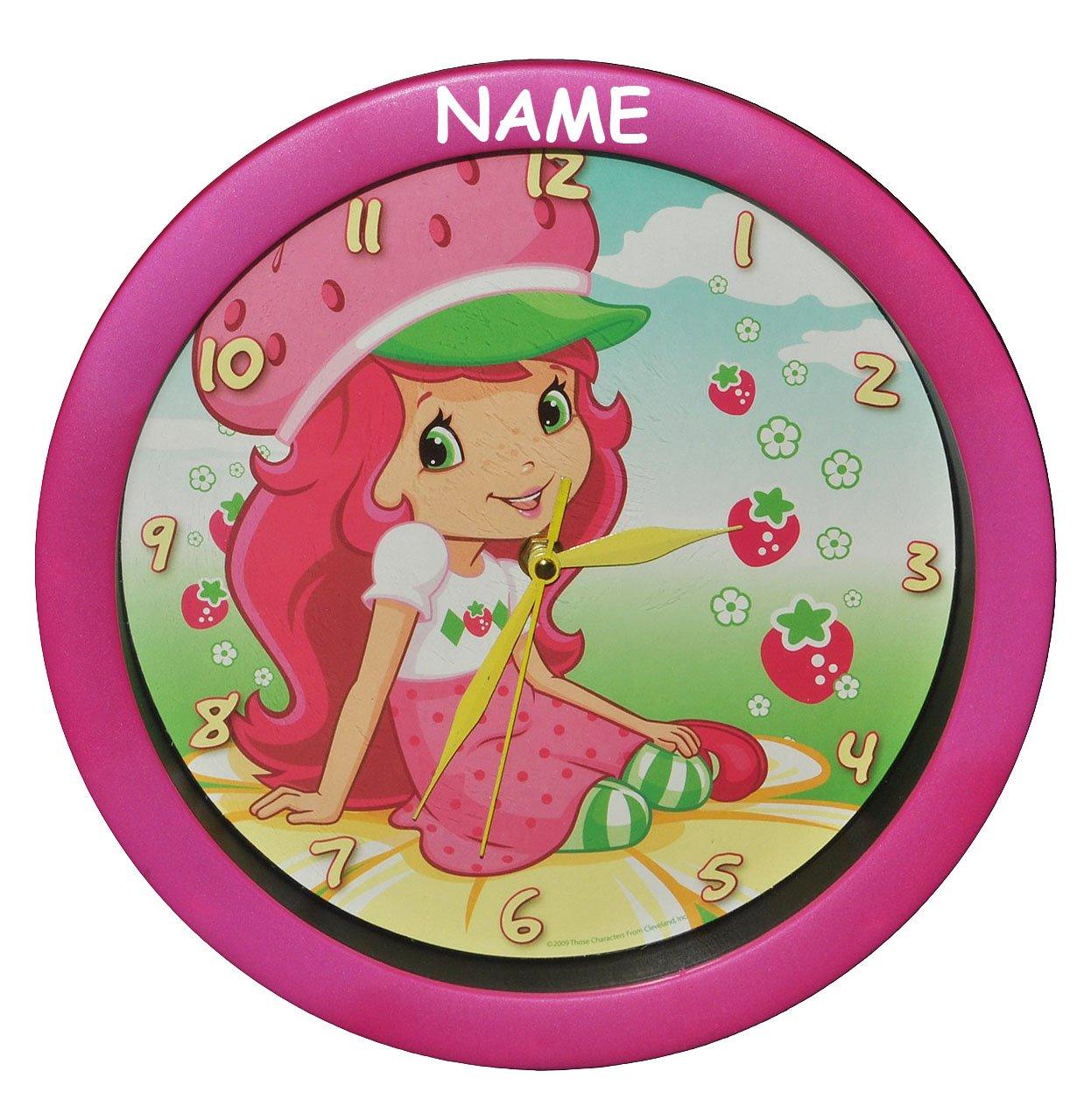 Wanduhr Emily Erdbeer incl. Name – 29 cm groß Uhr – für Kinderzimmer Kinderuhr – Analog Erdbeere Mädchen Frucht Puppe Blumen günstig bestellen