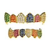 18K Gold Plated Fang Grillz Set Multi-Color CZ Bling Cubic Zirconia Teeth Hip Hop Rainbow Clown Grills