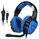 SADES Updated A70 USB Stereo Gaming Headset Over-Ear Headphones with Microphone Volume Control Noise Reduction Breathing LED Lights for PC Gamers(Black) (Color: Black)