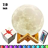 7.9 inch Moon Lamp,3D Printed Moon Lamps5.9inch/7.1inch/9.1inch/10.1inch/100% 3D Printing LED 16 Colors Moon Light, Touch&Remote Control Decorative Moon Lamp Night Light. (Color: White, Tamaño: 7.9inch)