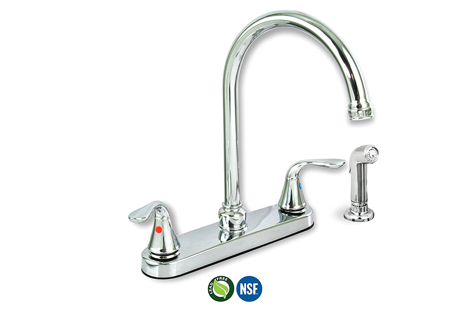 Everflow Supplies 17188 Lead Free Two-Handle Kitchen Faucet with Sprayer, Chrome