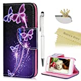 iPod Touch 5 Case, iPod Touch 6 Wallet Case - Mavis's Diary Colorful Painted Purple Dream Butterfly Premium PU Leather Cover for Apple iPod Touch 5th & 6th Generation (Color: Dream Butterfly)