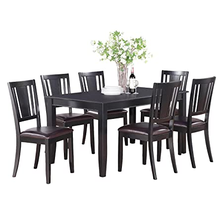 East West Furniture DULE5-BLK-LC 5-Piece Dining Table Set, Black Finish