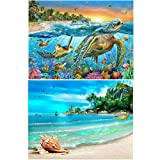 2 Packs 5D DIY Diamond Painting Paint by Numbers Kits for Adult, Turtle & Beach Full Drill Diamond Embroidery Paintings Pictures Arts Craft for Home Decoration by INFELING (Color: Turtle & Beach)