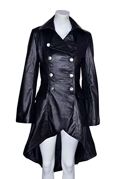Gotik Damen Edwardian Frauen schwarz gewaschen Wirkung Echtes Leder zuruck geschnurt Jacken / Mäntel Alle Größen