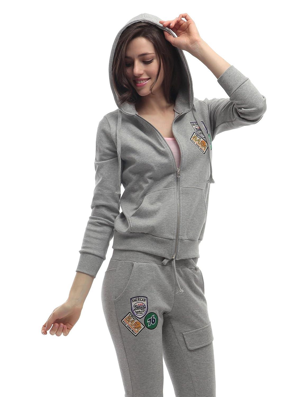 Doublju Womens Hood Sweatshirt & Pants Set with Point Patches
