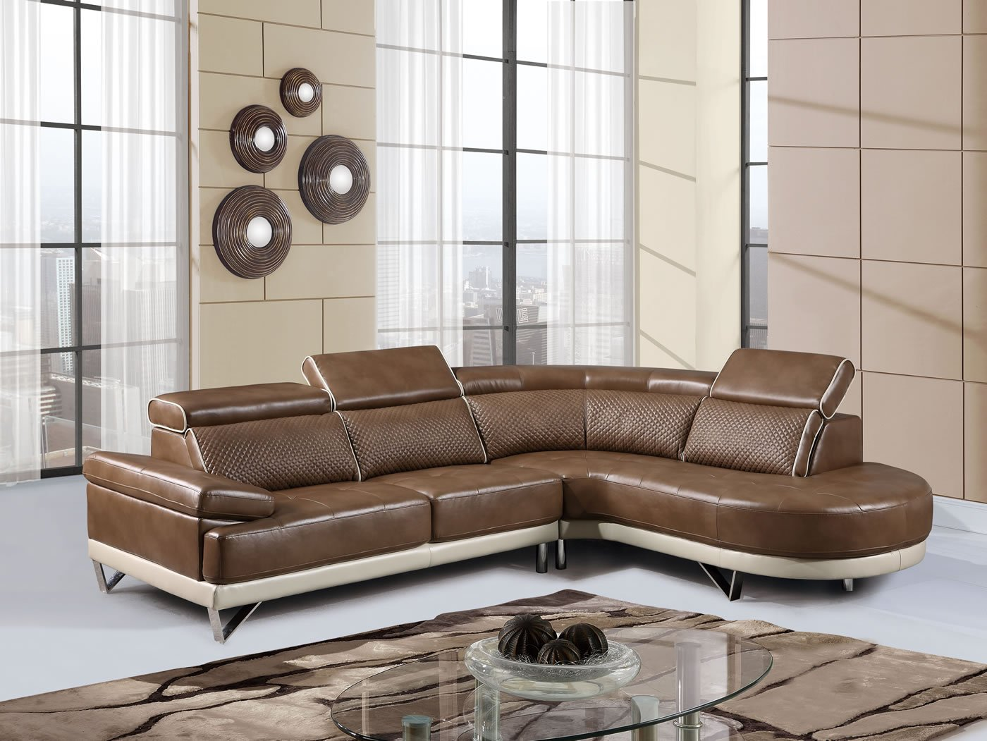 Global Furniture U7730 - SECTIONAL 2-Piece Pluto Sectional - Walnut/Pearl