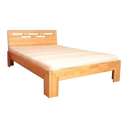 Seniorenbett Massivholz-Bett, Birke 140x200 cm - hoher Fuß 47 cm, Kopfteil auswählbar, Kopfteilauswahl:ohne Kopfteil