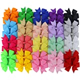 Chiffon 3in Boutique Grosgrain Ribbon PinWheel Hair Bows clips For Baby Girls Teens Toddlers Newborn Set Of 40 (Color: 20 Colors 40pcs, Tamaño: 3 inches)