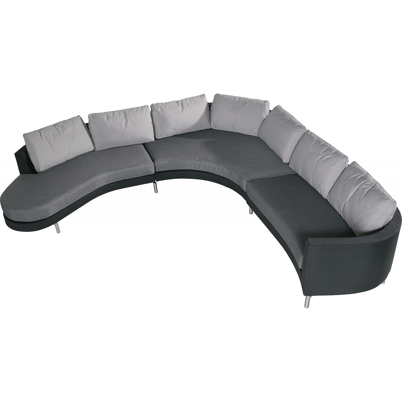 4Seasons Outdoor Curve 3-teilige Loungegruppe mit Insel schwarz grau inkl Kissen
