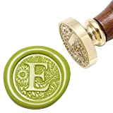 Letter E Wax Seal Stamp, Yoption Brass Head Botanical Alphabet Initial Sealing Stamp with Wooden Handle (Color: E)