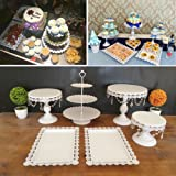 6 Set Metal Crystal Cake Holder Cupcake Stand Cake Dessert Holder with Pendants and Beads,Wedding Birthday Dessert Cupcake Pedestal Display,White (6) (Color: White)