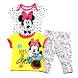 Disney Baby Baby Girls Minnie Mouse Bodysuit,Tee & Leggins Size 3-6 Months (Color: Multicolor, Tamaño: 3 - 6 Months)