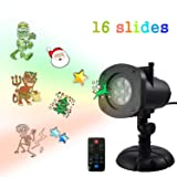 Outdoor Light Projectors AOLOX 16 PCS Slides Rotating Santa Claus Star Snowflake lights Waterproof LED Landscape Spotlight for Holiday Party Birthday Decorations (Color: Multicolor)