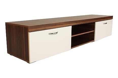Color blanco de madera de nogal TV gabinete Milan unidad gabinetes de televisión - 1,4 m pantallas hasta puede contener 167,64 cm