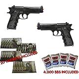 Dual Airsoft SPRING Pistols M9 92 6mm Beretta FULL SIZE w/ BBs & Targets