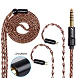 FDBRO 8-core Earphone Upgrade Cable CD Texture Plug Replacement Cable Detachable Ear-Hook Type OFC Silver Plated Earphone Cable for UM3X ES3 ES5 W4R ZS5 ZS6 ZS10 ZST ZSR (0.78mm 2PIN, Bronze+4.4mm) (Color: Bronze+4.4mm, Tamaño: 0.78mm 2PIN)