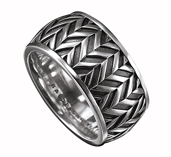 Baldessarini Sterling Silver Mens Patterned Designer Ring Y1040R/90/00/