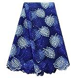 pqdaysun African Lace Fabrics 5 Yards 2019 Nigerian French Beaded Tulle Fabric (Royal Blue) (Color: royal blue, Tamaño: 5 yards)