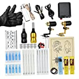 SM SunniMix Tattoo Complete Tattoo Kit Professional Liner Shading Machine Gun Power Supply Foot Pedal Needles Grips Tips Pigment Holder Ink Cups Set - Black Gold, as described (Color: Black Gold, Tamaño: as described)