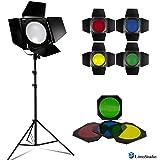 LimoStudio LED Barn Door Lighting Set, Light Stand Tripod and 4 Color Gel Filters for Professional Photography Lighting, Photography Studio, AGG2540
