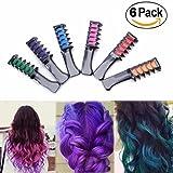 6PCS Multicolor Hair Chalk Powder - Azmall Hair Chalk Comb Disposable Hair Coloured Stick Cosplay DIY Hair Dye Powder Comb (Tamaño: 6PCS)
