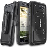 COVRWARE Aegis Series Compatible with Galaxy J7 Prime/J7 Sky Pro/J7 Perx/J7 V 2017/J7 2017 Heavy Duty Full-Body Rugged Holster Armor Case with Built-in Screen Protector, Belt-Clip, Kickstand, Black (Color: Black)