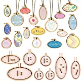 INSANY Small Ring Embroidery Hoops Mini Wooden Cross Stitch Hoop Mini Round Oval Wood Hoops for Frame Craft and Hanging 8Pcs/Set (Tamaño: Free)