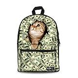 Bigcardesigns Money Cat Canvas Bookbag Backpack (Color: Cat 3, Tamaño: Medium)