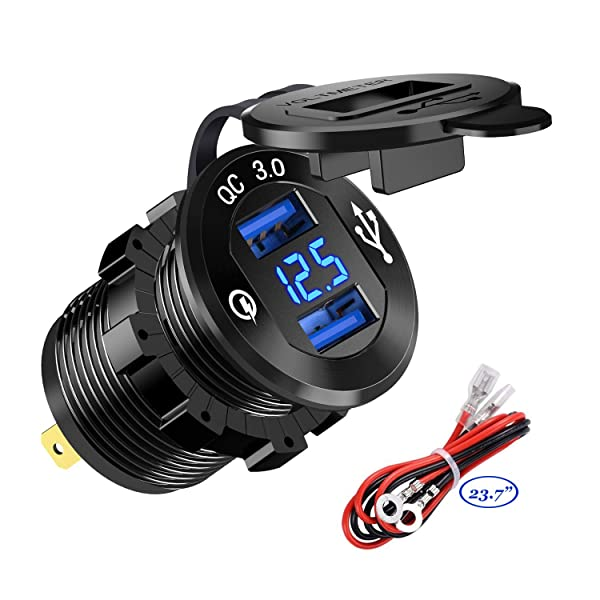 YonHan Quick Charge 3.0 Dual USB Charger Socket, Waterproof Aluminum Power Outlet Fast Charge with LED Voltmeter & Wire Fuse DIY Kit for 12V/24V Car Boat Marine ATV Bus Truck and More  (Color: Blue)