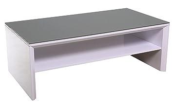 Couchtisch ZÜRICH 120x65cm, weiss Hochglanz, Glasplatte grau